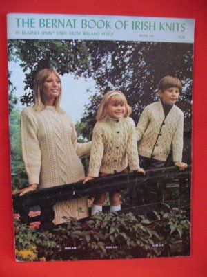 Vtg The Bernat Book of Irish Knits family knitting patterns classic 34 pages