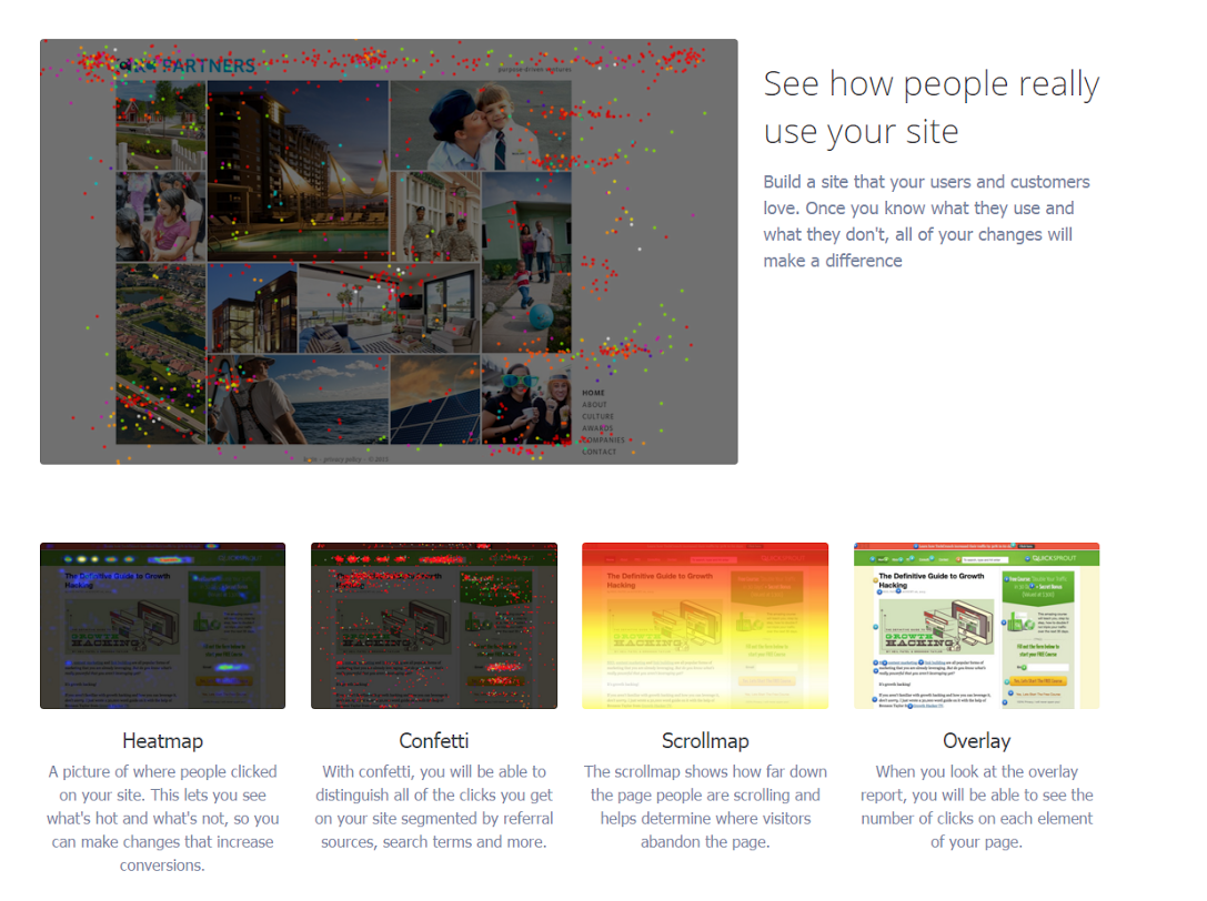 Crazy Egg Heat and Scroll Maps show where users are most