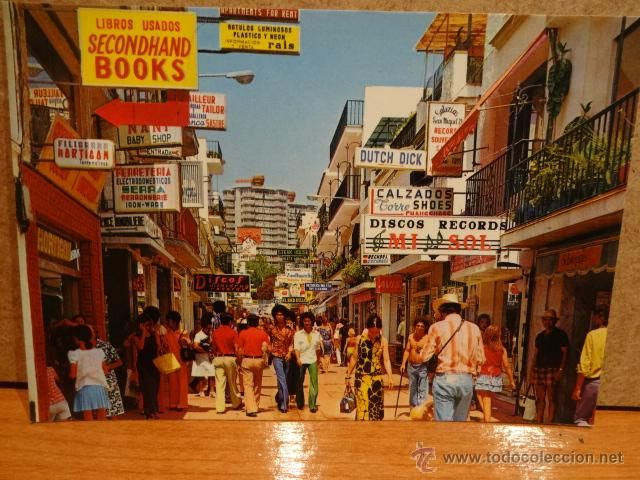 Torremolinos Concurrida Calle San Miguel Años 70 Nueva Sin Circular Torremolinos Calle San Miguel San Miguel