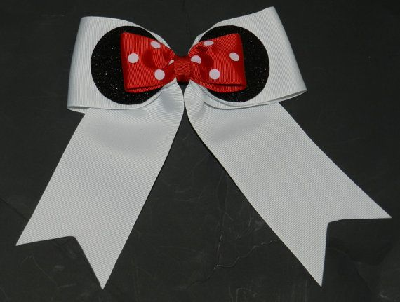 Cheer Bow  21/4  inch base  Minnie Mouse Bow by ABCBows on Etsy, $8.00