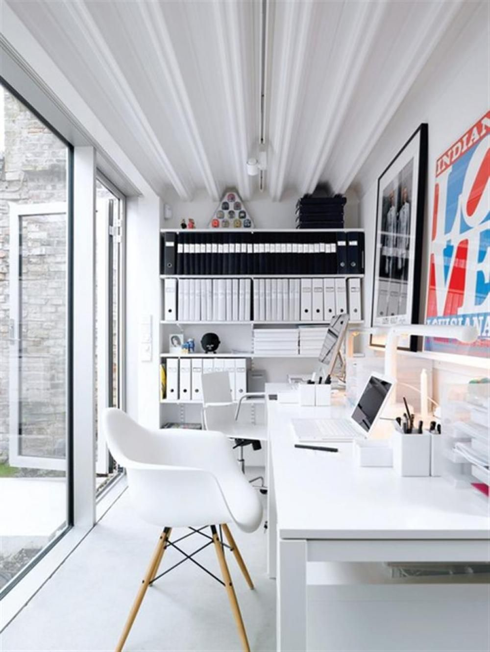Modern White Home Office Design Idea And Eames Shell Chair Also Compact File Storage Stylish