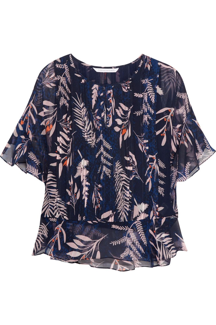 cacc44a1c1ee0 DIANE VON FURSTENBERG Holody pleated printed silk-chiffon blouse.   dianevonfurstenberg  cloth  blouse