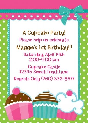 cupcake trio birthday party invitations png pinterest