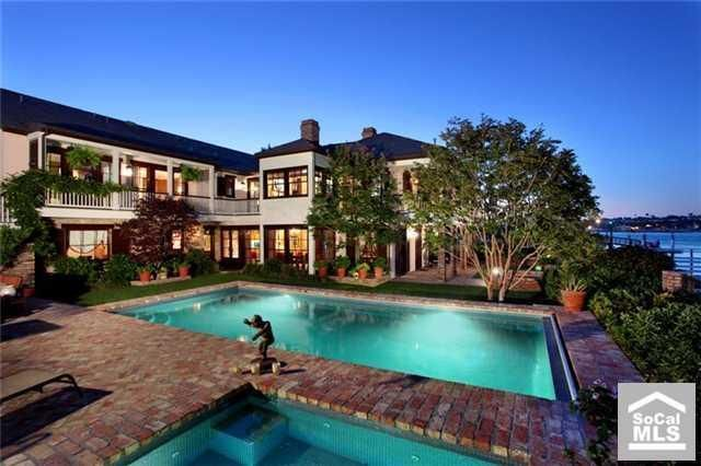 incredible pool at this waterfront home in newport beach ca
