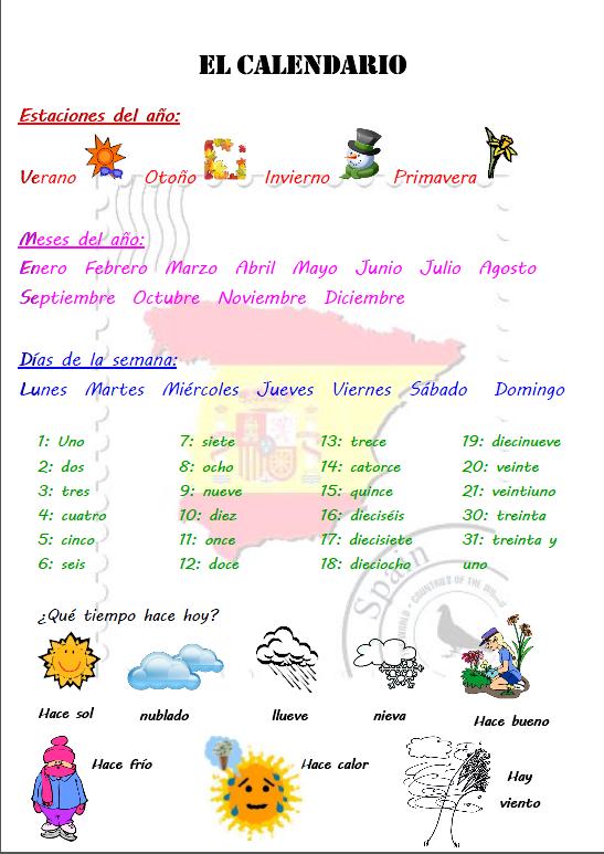 el calendario vocab pinterest vocabulaire espagnol apprendre espagnol d butant et. Black Bedroom Furniture Sets. Home Design Ideas