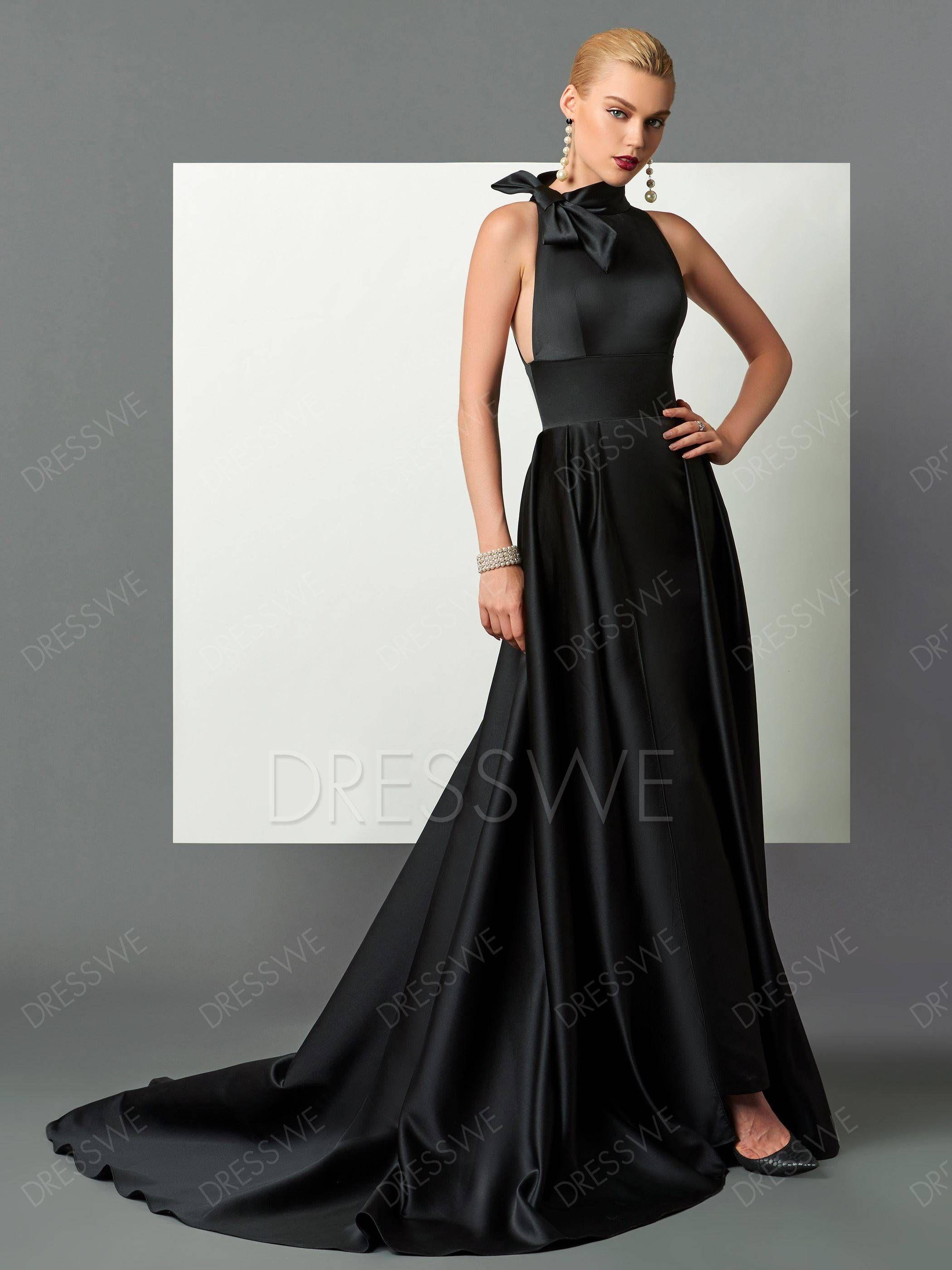 c6f36c58f5c Classic Black Halter Satin A Line Long Evening Dress in 2019 ...