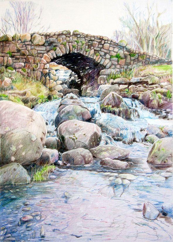 """""""Ashness Bridge, Derwent, Cumbria"""" 25 x 35cm - coloured ..."""