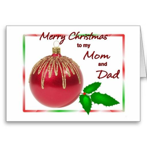 merry christmas mom and dad red and gold ball with greeting card zazzle