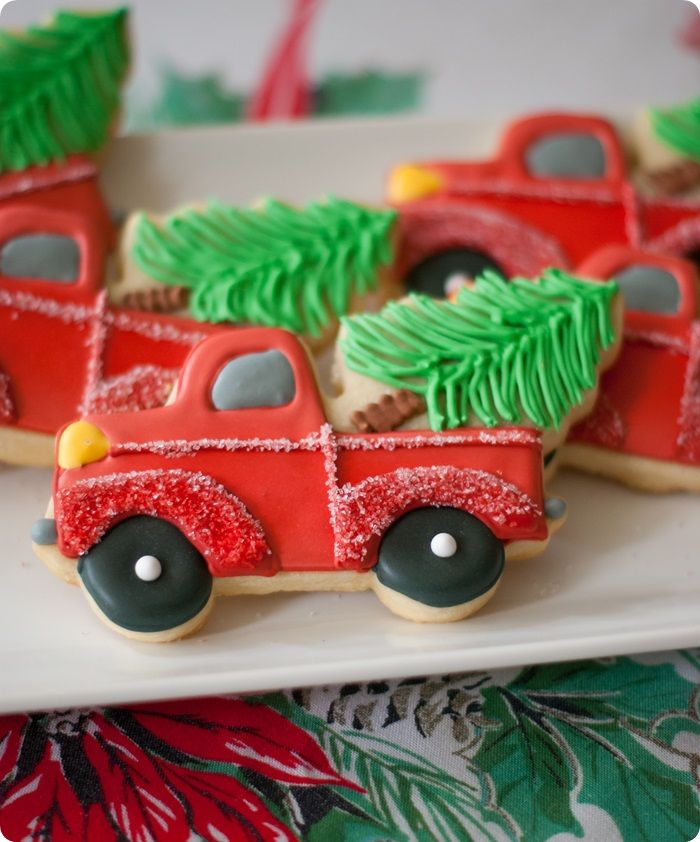 trucks with christmas trees cookies, decorating tutorial and link to