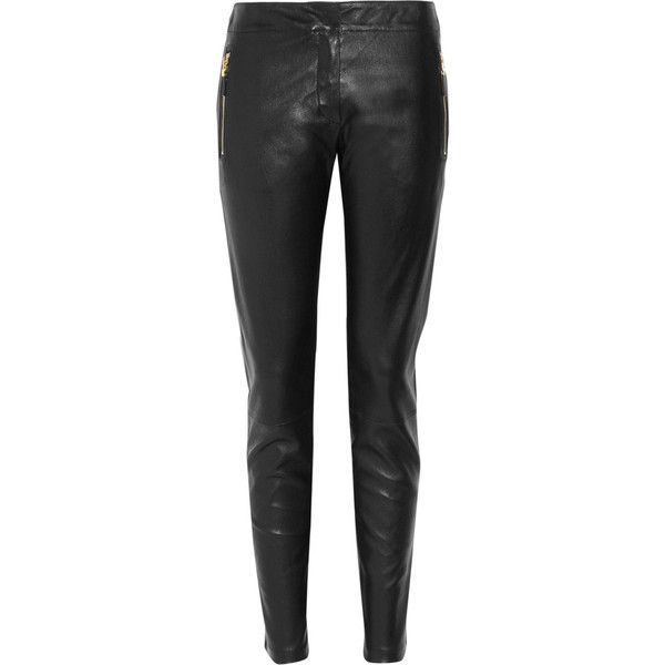 Alexander McQueen Cropped leather pants ($975) ❤ liked on Polyvore featuring pants, capris, alexander mcqueen, jeans, bottoms, calças, cropped capri pants, leather zip pants, cropped trousers and real leather pants