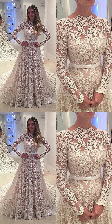 Simple scallopededge long sleeves sweep train lace wedding dress