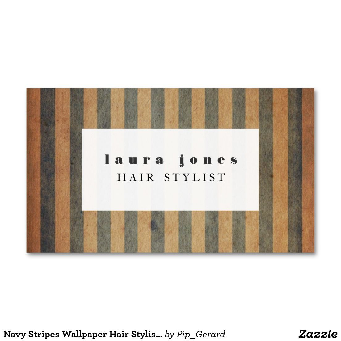 Navy Stripes Wallpaper Hair Stylist Template Double-Sided Standard Business Cards (Pack Of 100)