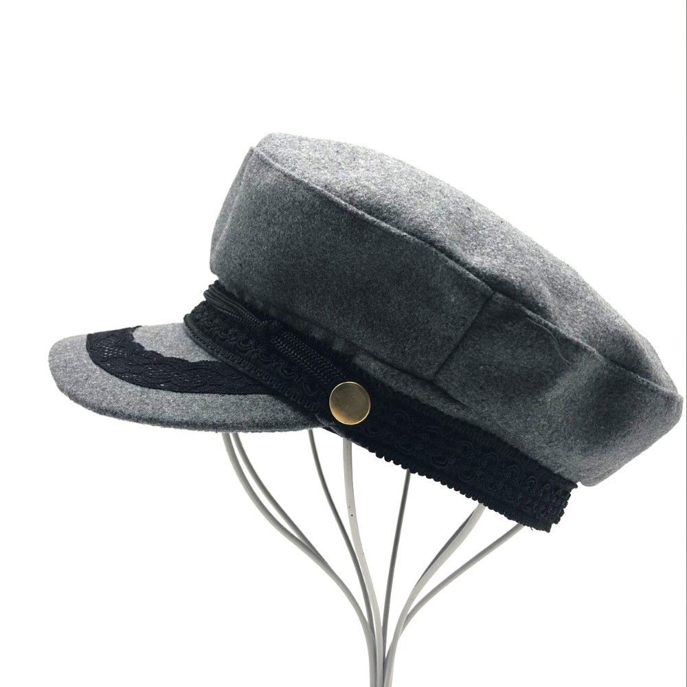 5fc39c0b New wool Military Hat Winter Knitted Cap Flat Top Hats For Women Black Grey  Male Female