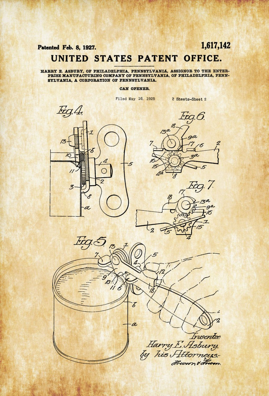 Can Opener Patent Print - Decor, Kitchen Decor, Restaurant Decor ...
