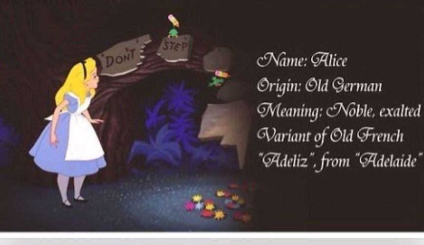 Name Meaning Alice In Wonderland Disney Alice Alice In Wonderland