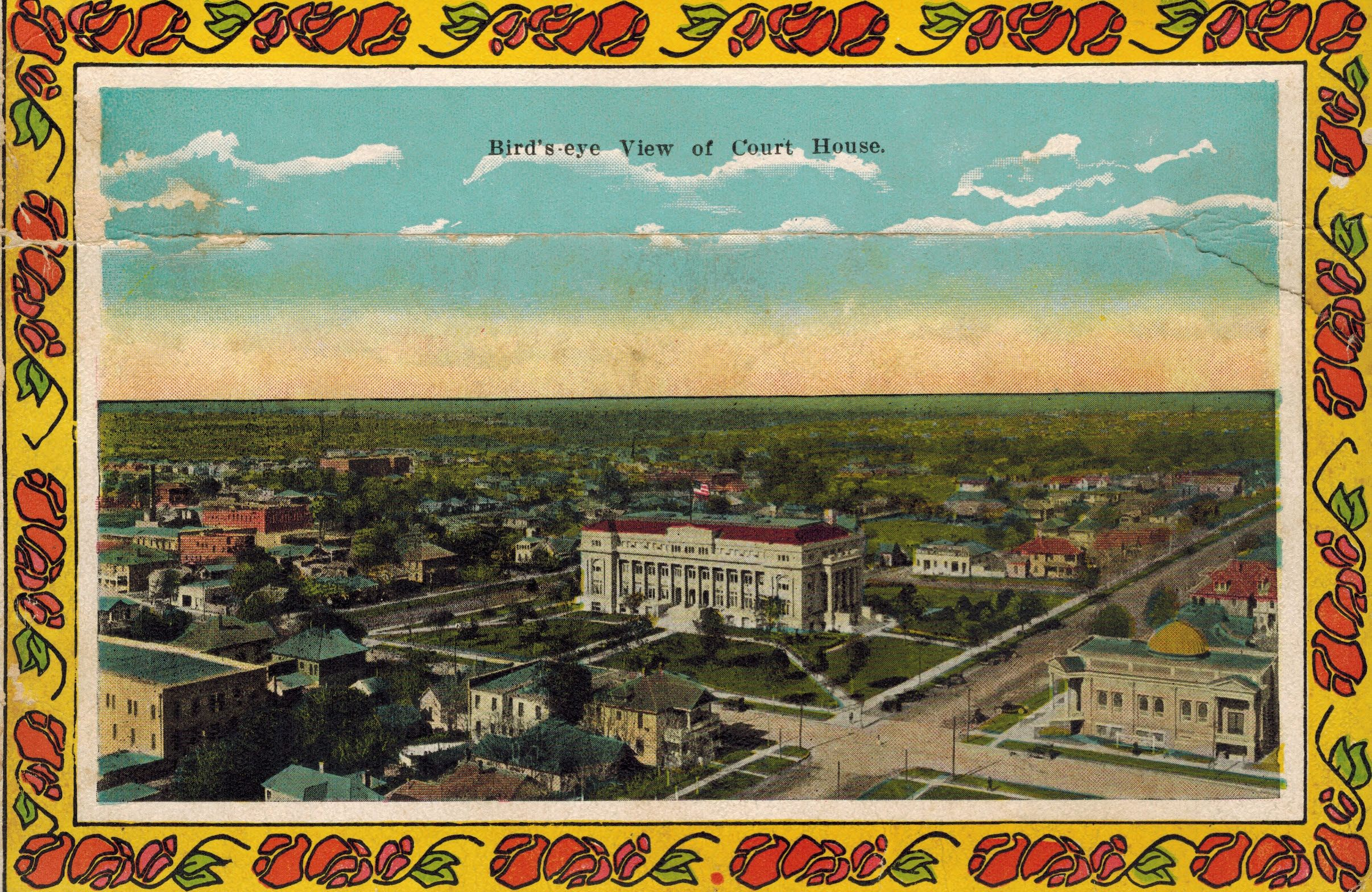 Birdseye view of courthouse from wichita falls texas