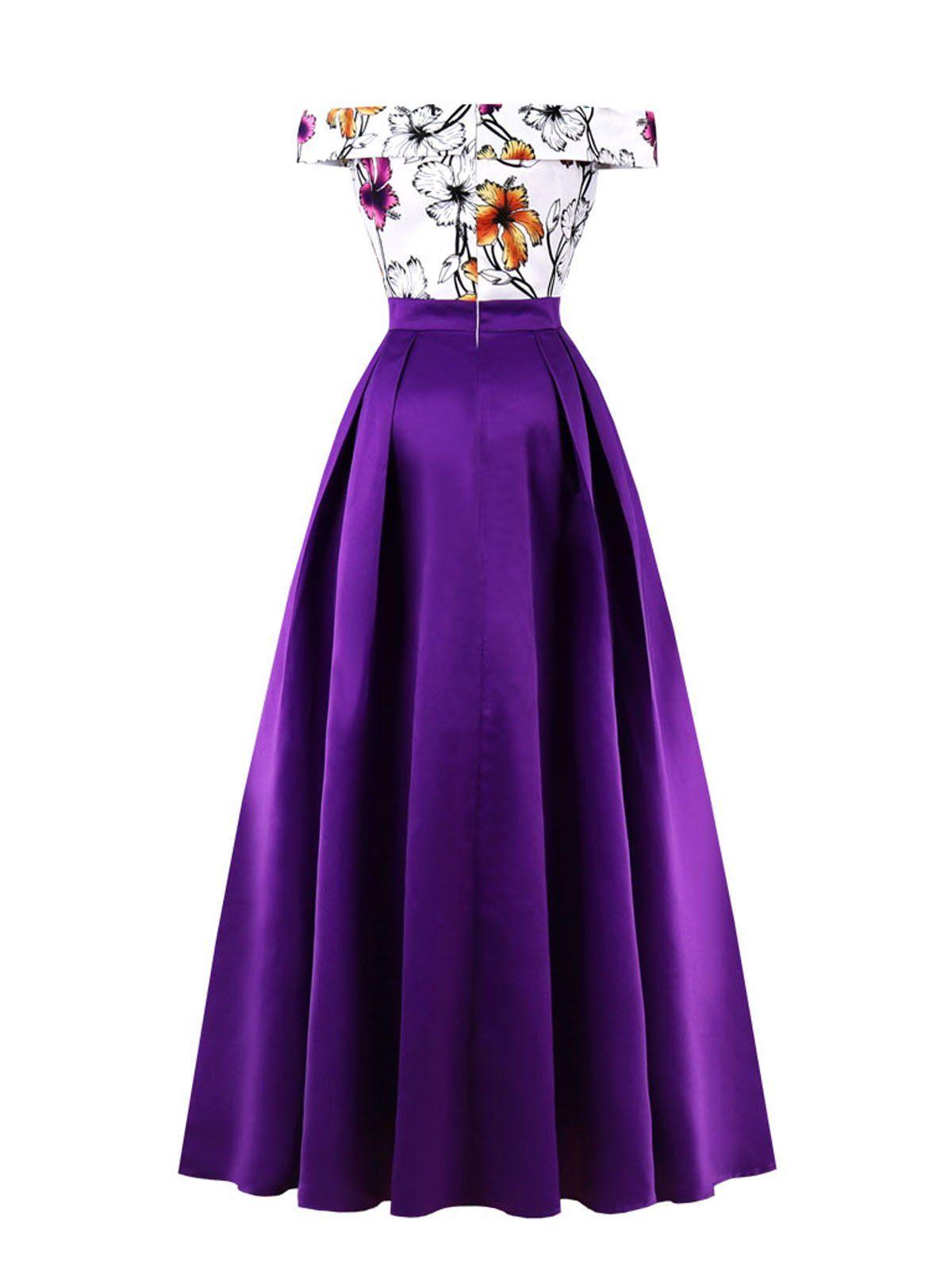 Purple Elegant Vintage Style Off Shoulder Evening Dress Retro Stage Chic Vintage Dresses And Accesso Off Shoulder Evening Dress Dresses Shoulder Maxi Dress [ 1600 x 1200 Pixel ]