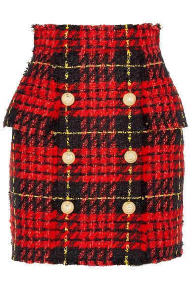 f97d03e8 Balmain - Button-embellished Tartan Tweed Mini Skirt - Red | Shop ...