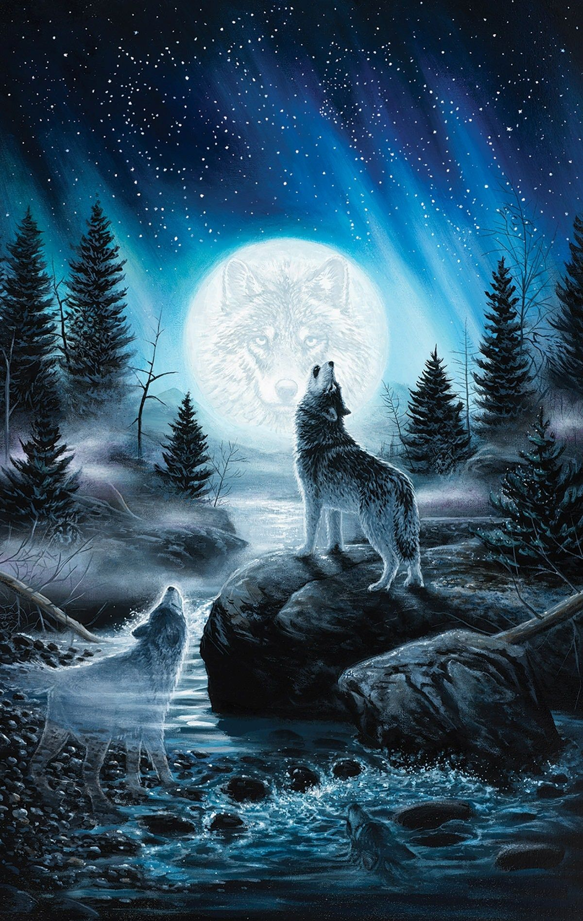 Howling Wolf Wallpaper iPhone | iPhoneWallpapers | Wolf wallpaper, Wolf painting, Fantasy wolf