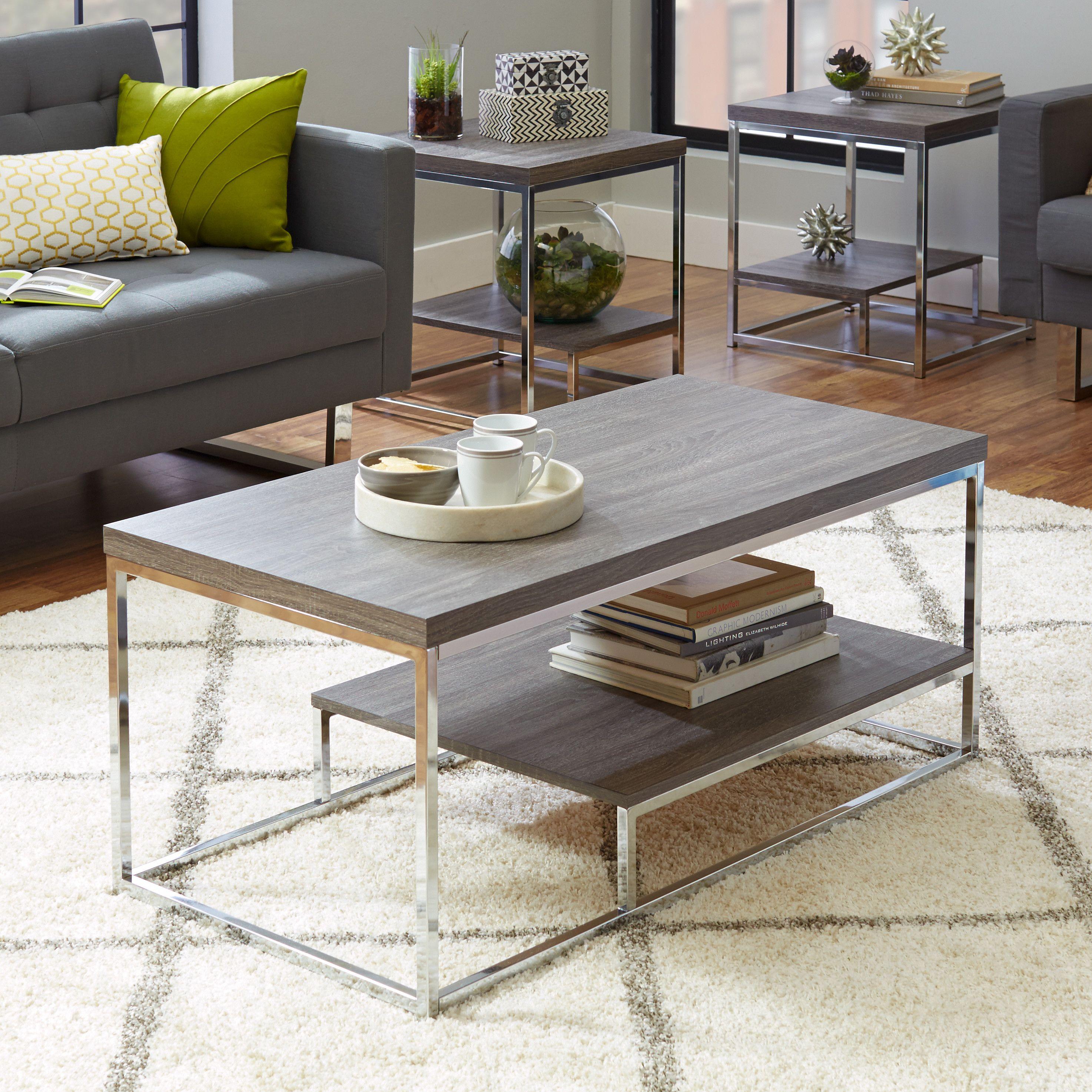 Philippos 3 Piece Coffee Table Set Living Room Table Sets 3 Piece Coffee Table Set Modern Living Room Table #three #piece #living #room #table #set