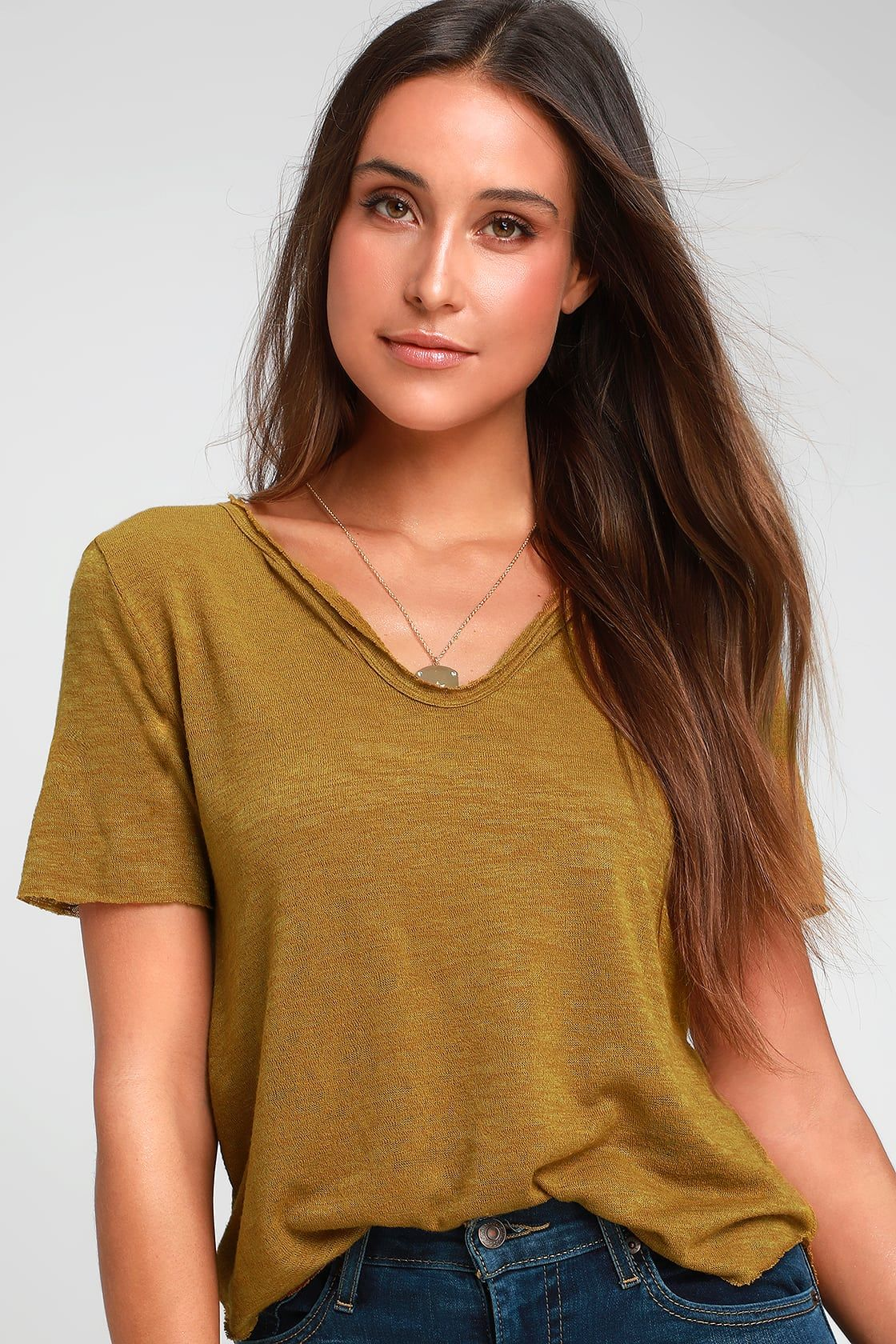 b3280c50dfcb79 Here and Now Mustard Yellow Burnout Tee