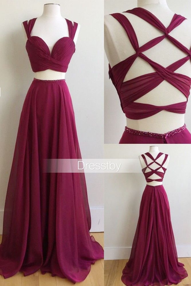 Unique two pieces burgundy prom dress, burgundy evening dress ...
