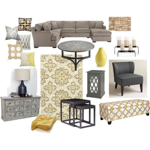 Grey and yellow living room by avivavikstrom on polyvore for Yellow brown living room ideas