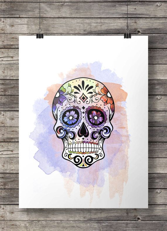 cr ne de sucre aquarelle dia di los muertos aquarelle. Black Bedroom Furniture Sets. Home Design Ideas