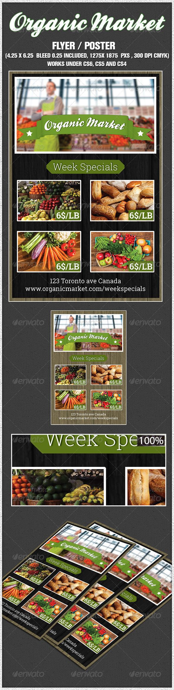 indesign organic supermarket flyer