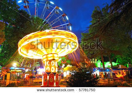 stock photo : Night illumination in Park Riviera ,   Sochi city- Capital of Olympic Game 2014 , Russia.