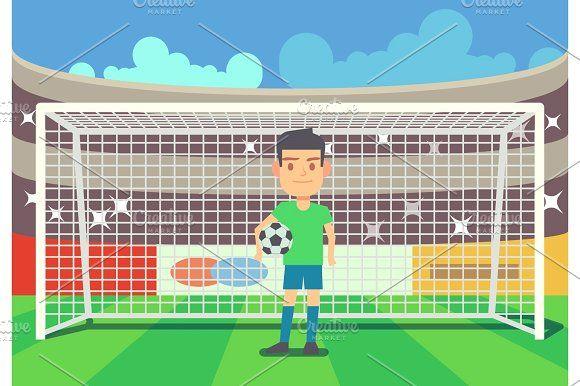Cartoon Goalkeeper Catches The Ball Goalkeeper Cartoon Vector Character