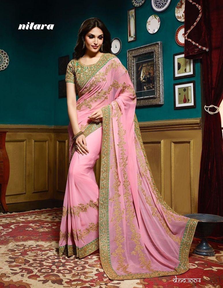 Partywear Indian Pakistani Designer Saree Dress Wedding Bollywood ...