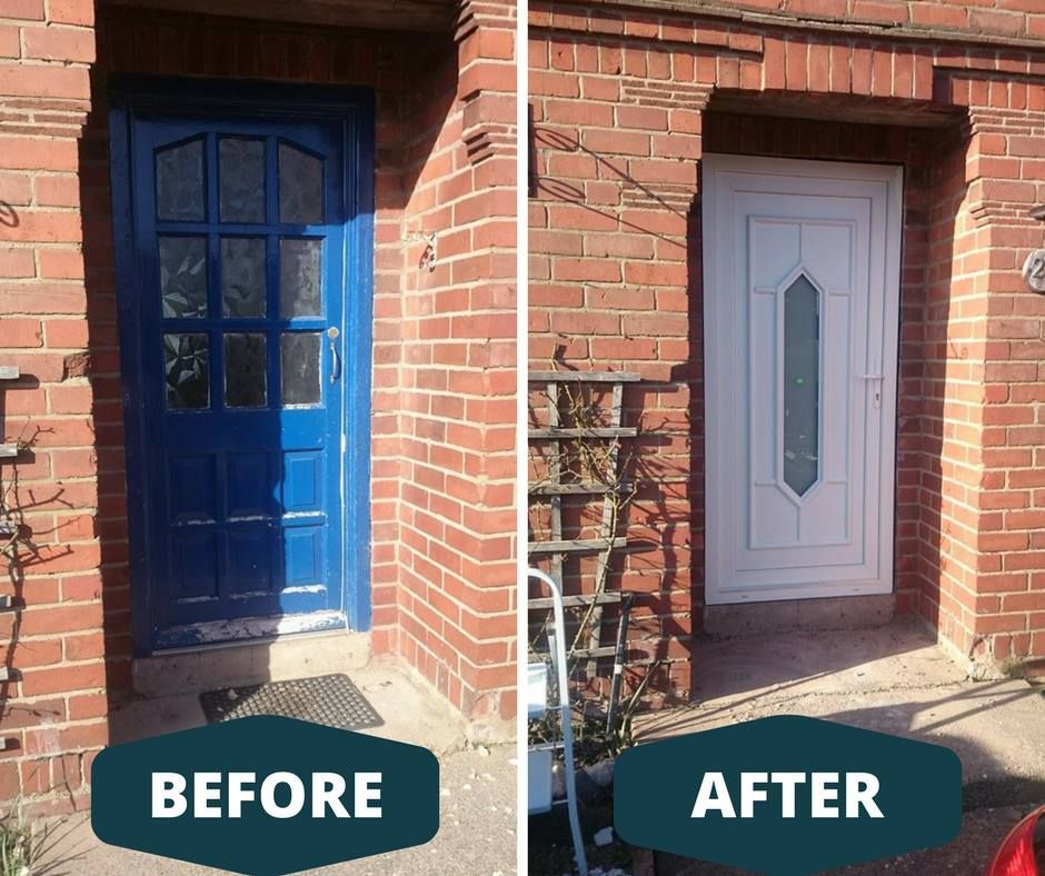 Before and after replacement old door Designed, supplied