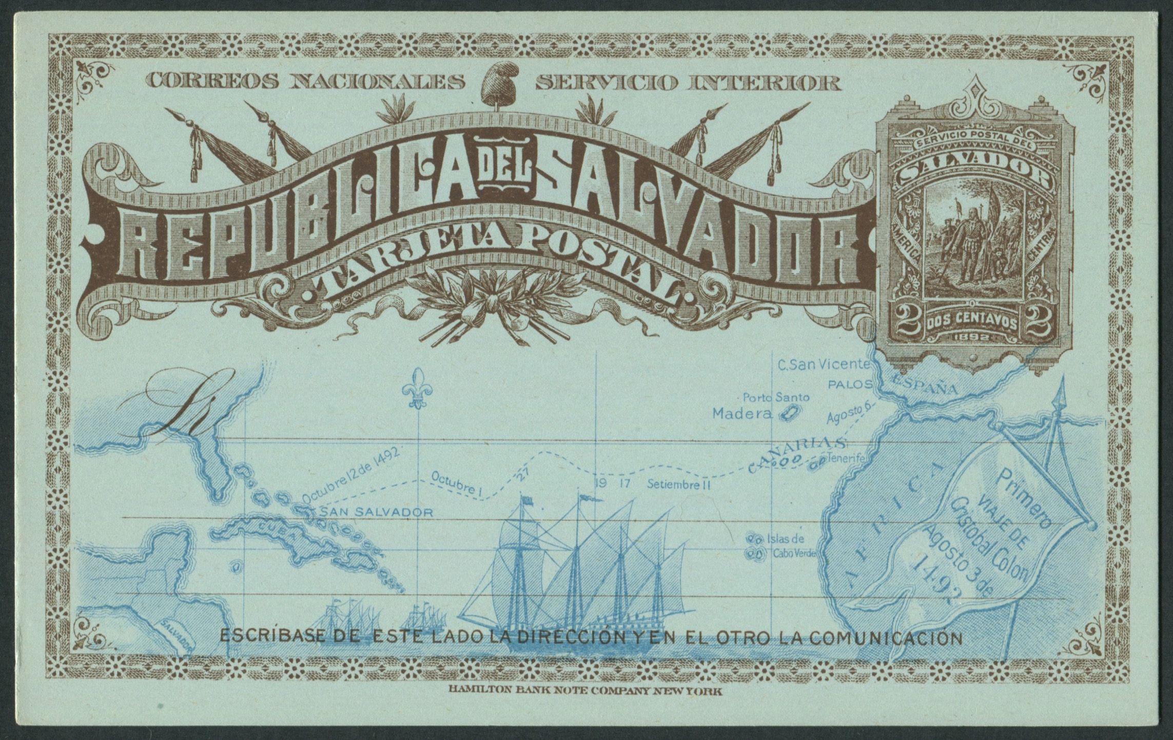 El Salvador 1892 Postal Card Higgins u0026