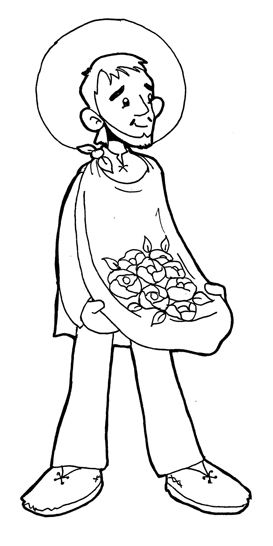 St. Juan Diego Catholic Coloring Page. Feast day is
