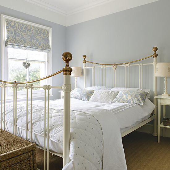 inspiring country chic bedroom decorating ideas | Pale blue bedroom with traditional white bed frame ...
