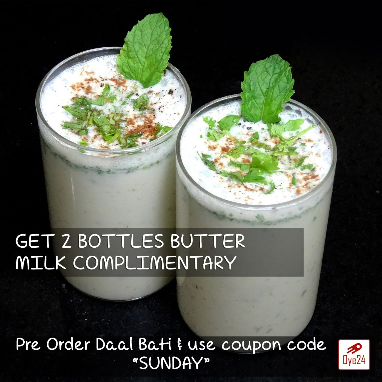 Lets Welcome this Summer with this cool Sunday special offer www.oye24.com or call 0731-4711711 to place order.  #Oye24 #buttermilk #chhach #summer #daalbati #sunday #special #offer #lazy #day #relax #orderonline #freedelivery #indore