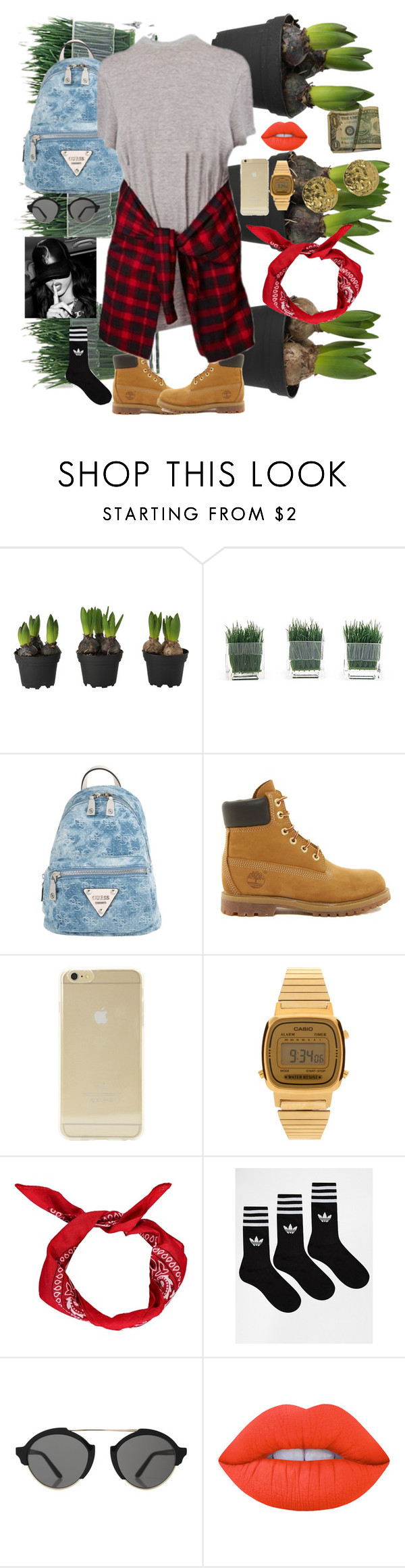 """""""Sin título #229"""" by viviana0 on Polyvore featuring moda, GUESS, Timberland, Sonix, Casio, Boohoo, adidas, Illesteva, Lime Crime y Chanel"""