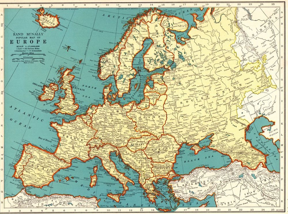 1940 Antique Europe Map Vintage Collectible Map of Europe ...