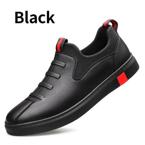 BIMUDUIYU Black Mens leather casual shoes Fashion Breathable Sneakers Comfortable Loafers Men Shoes Flat Shoes
