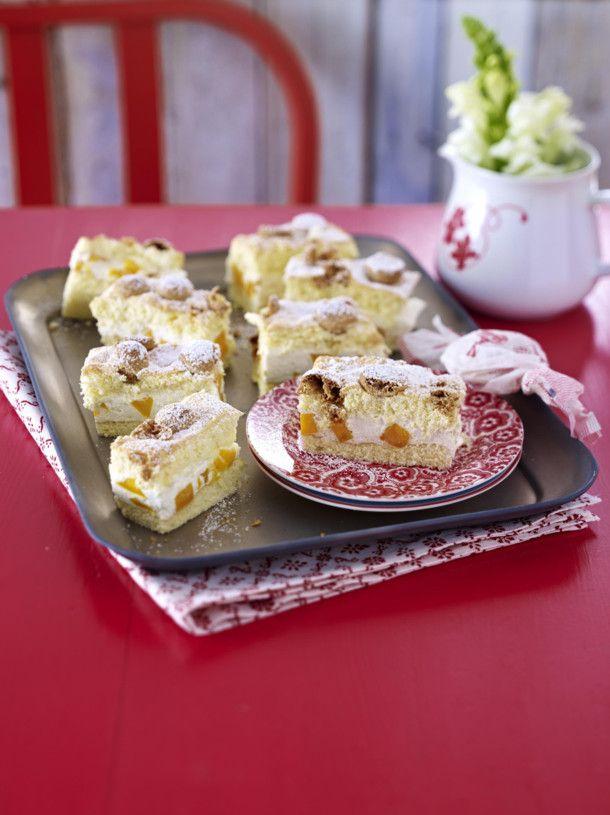 Amarettini Schnitten Mit Mango Creme Rezept Lecker Rezepte Leichte Kuchen Rezepte Blechkuchen Einfach Schnell