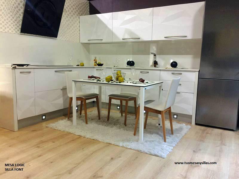 mesa cocina moderna con encimera cristal blanco o ...