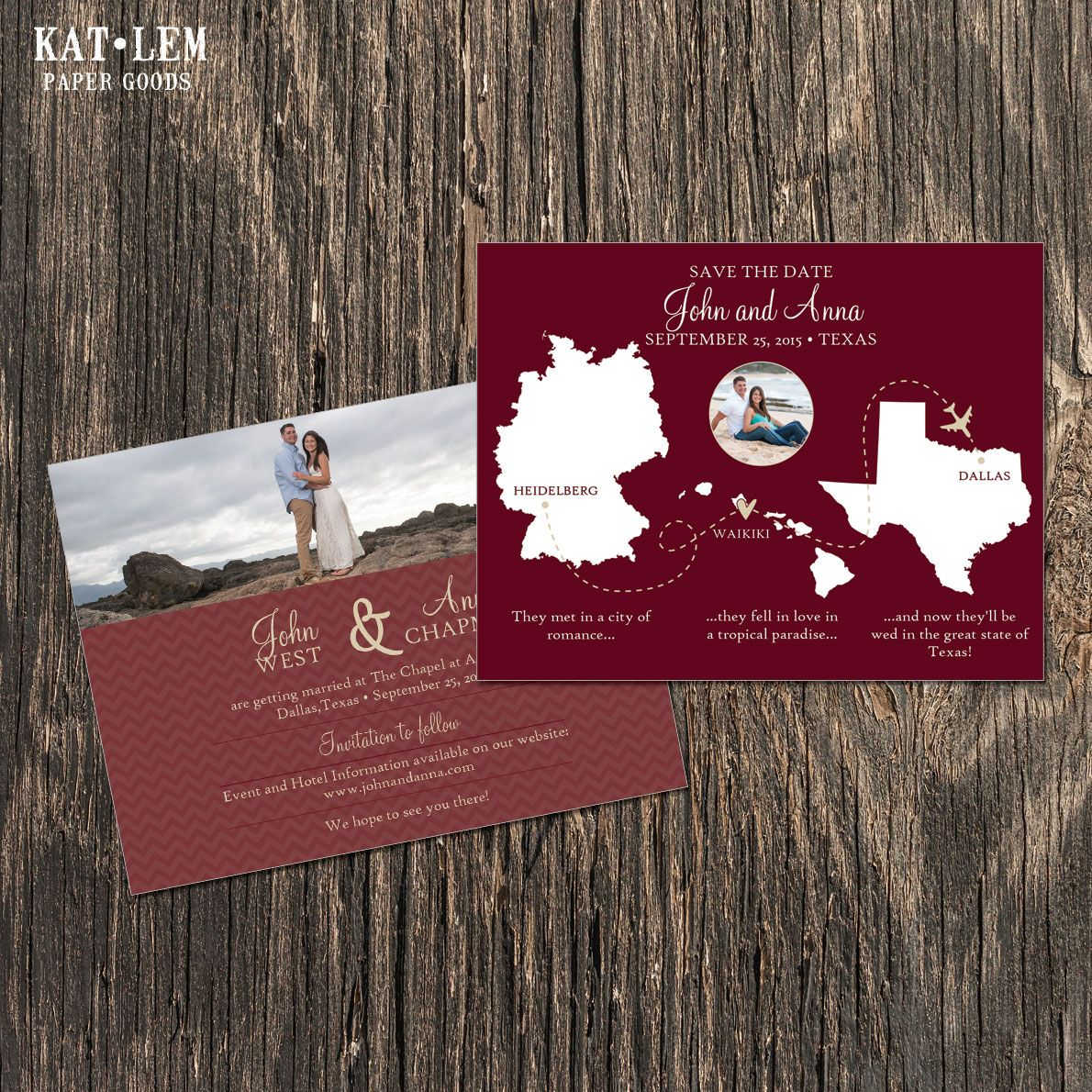 Multiple locations and maps save the date. Custom design for client ...