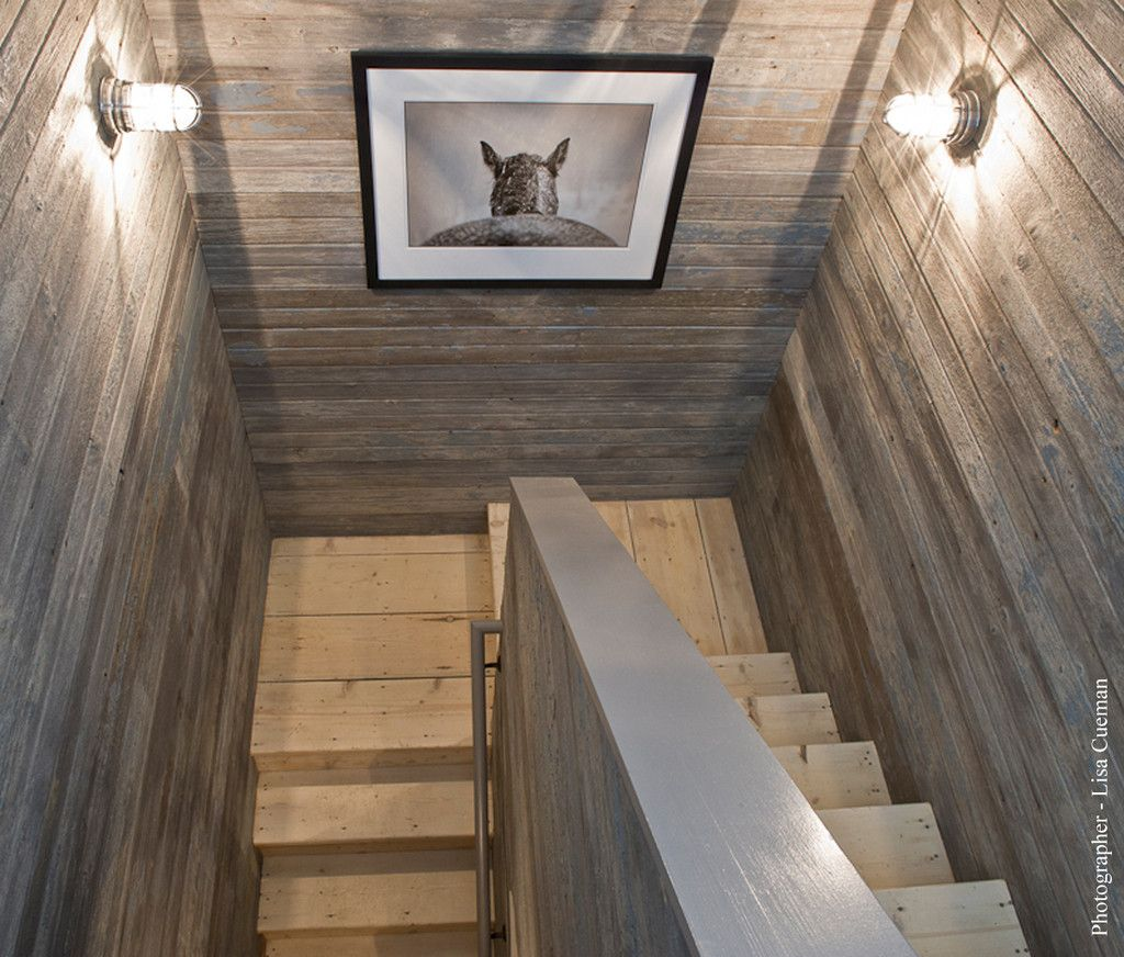 Salvaged Wood Cladding And Lisa Cueman Photo Entry Stair To Hayloft Guest Quartersfabulous