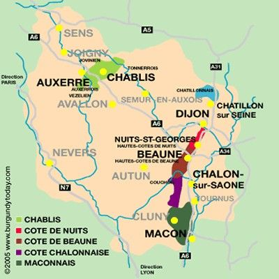 Map Of Areas Of France.Map Of Burgundy S Wine Region France Le Voyage Tant Attendu Vers