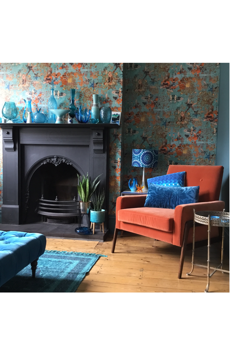 Best Mary Wallpaper In 2020 Blue Orange Living Room Dining 400 x 300