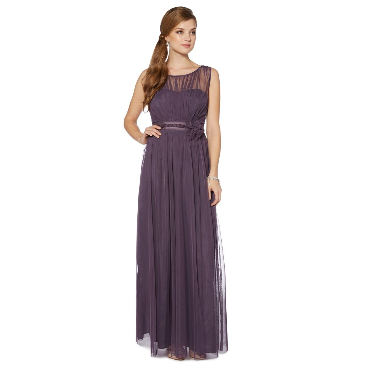 Debut Mauve mesh build corsage maxi dress- at Debenhams.com ...