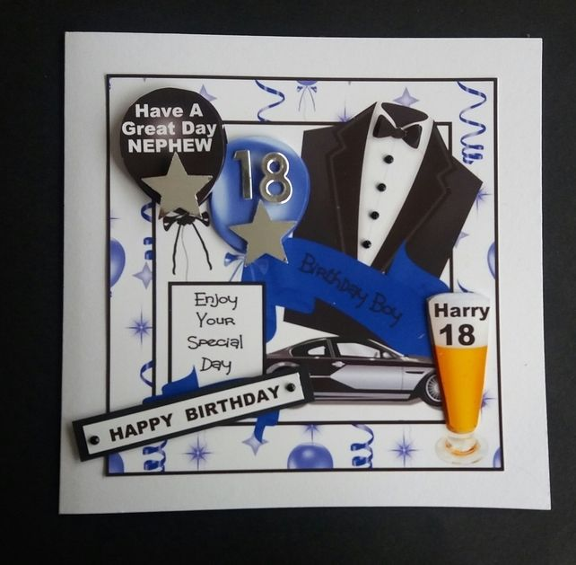 Personalised Male Birthday Card, Son, Nephew,Brother, 18th
