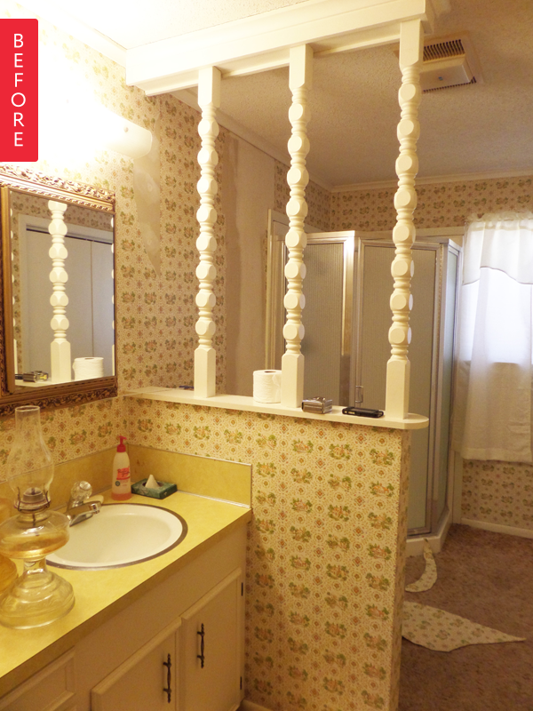 Before After S Bathroom Gets A Moody Makeover Dark And Vintage - 70s bathroom makeover