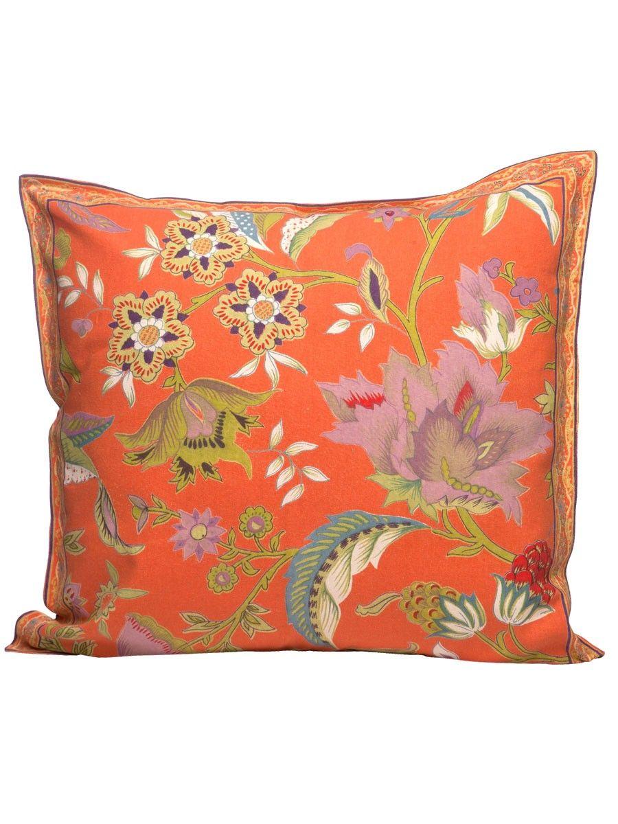 Printed Cushion Cover - Kerala Orange - 16x16